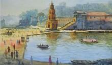 Cityscape Watercolor Art Painting title Ganga by artist Avishkar Vispute