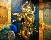 Religious Acrylic Art Painting title Krishna 1 by artist Sudip Routh