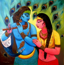 Religious Acrylic Art Painting title Radha Krishna 2 by artist Sudip Routh