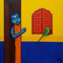Figurative Acrylic Art Painting title Gurukul Boy With Friendly Parrot by artist Nitin Ghangrekar