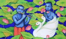 Figurative Acrylic Art Painting title Lotus Pond by artist Nitin Ghangrekar