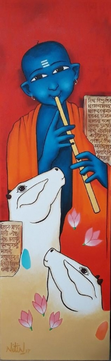 Religious Acrylic Art Painting title 'Playing Flute With Cow 2' by artist Nitin Ghangrekar