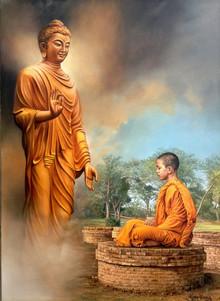 Religious Oil Art Painting title Enlightment by artist Shyam Verma