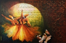 contemporary Mixed-media Art Painting title Aftab by artist Radhika Seksaria