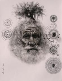 Figurative Mixed-media Art Drawing title Mokhsha by artist Arindam Gupta
