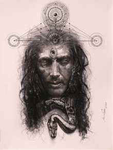 Religious Mixed-media Art Drawing title Veeravhadra by artist Arindam Gupta