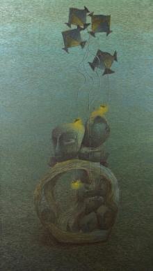contemporary Acrylic Art Painting title Burning Desire 2 by artist Vaishnavi Naik