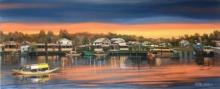 Cityscape Acrylic Art Painting title 'Dal Lake Kashmir 1' by artist Parimal Vaghela
