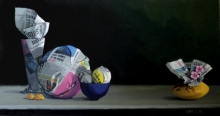 Still-life Acrylic Art Painting title 'Paper Balls And Bowl' by artist Parimal Vaghela