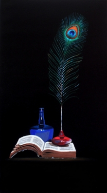 Still-life Acrylic Art Painting title 'Peacock Feather' by artist Parimal Vaghela