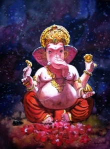 Religious Watercolor Art Painting title 'Ganpati' by artist Mayur Heganekar