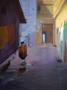 contemporary Oil Art Painting title 'Good Morning' by artist Mayur Heganekar