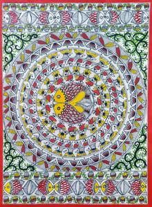 Traditional Indian art title Bharni on Paper - Madhubani Paintings