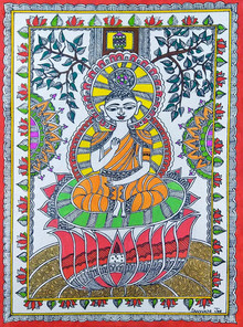 Traditional Indian art title Budhha And Tree Of Life on Handmade Paper - Madhubani Paintings