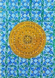 Traditional Indian art title Fusion Art on Handmade Paper - Madhubani Paintings