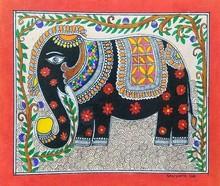 Traditional Indian art title Kings Decorated Elephant on Handmade Paper - Madhubani Paintings