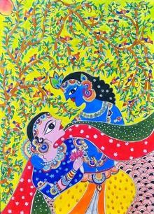Traditional Indian art title Krishna Radha Deep Love on Handmade Paper - Madhubani Paintings