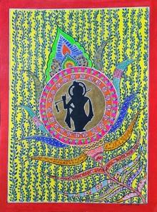Traditional Indian art title Lord Krishna on Handmade Paper - Madhubani Paintings