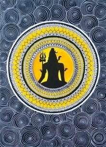 Traditional Indian art title Lord Shiva on Handmade Paper - Madhubani Paintings