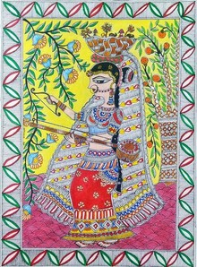 Traditional Indian art title Madhubani on Handmade Paper - Madhubani Paintings