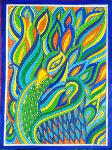 Traditional Indian art title Peacock on Handmade Paper - Madhubani Paintings