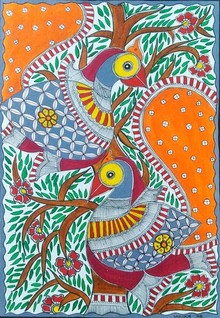 Traditional Indian art title Peacock Pair With Tree Of Life on Paper - Madhubani Paintings