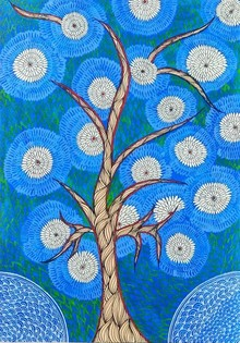Traditional Indian art title Tree Of Life on Handmade Paper - Madhubani Paintings