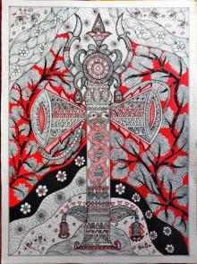 Traditional Indian art title Trishool on Handmade Paper - Folk-art Paintings