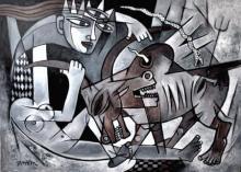 Figurative Acrylic Art Painting title Durga 2 by artist Rupchand Kundu