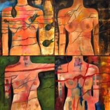 Nude Acrylic Art Painting title Untitled 5 by artist Sunayana Malhotra
