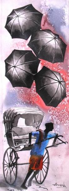 Ananda Das | Watercolor Painting title Monsoon I on Paper