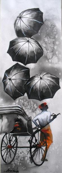 Ananda Das | Watercolor Painting title Monsoon II on Paper