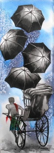 Ananda Das | Watercolor Painting title Monsoon III on Paper