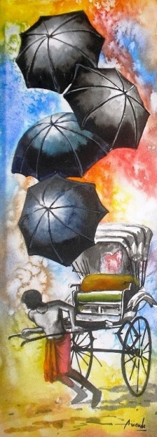 Ananda Das | Watercolor Painting title Monsoon IV on Paper