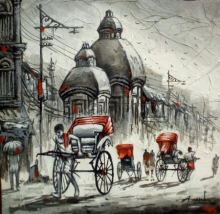 art, painting, acrylic, canvas, cityscape, kolkata