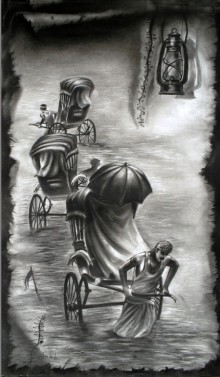 Ananda Das | Charcoal Painting title Light on Paper
