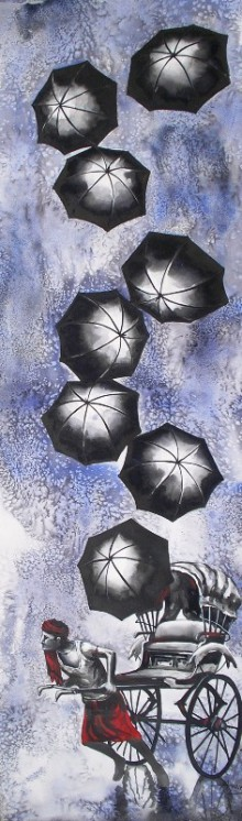 Ananda Das | Mixed-media Painting title Monsoons on Paper