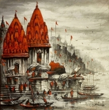Ananda Das | Acrylic Painting title Varanasi 3 on Canvas