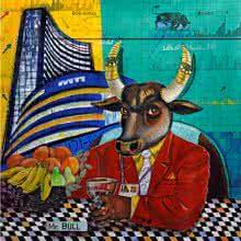 Figurative Acrylic Art Painting title 'MR Bull' by artist Arun K Mishra