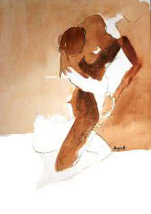 Arun K Mishra | Watercolor Painting title Kamasutra Nude Couple 3 on Paper | Artist Arun K Mishra Gallery | ArtZolo.com