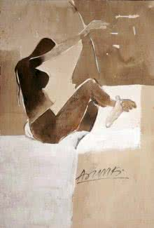 Arun K Mishra | Watercolor Painting title Kamasutra Nude Pose on Paper | Artist Arun K Mishra Gallery | ArtZolo.com