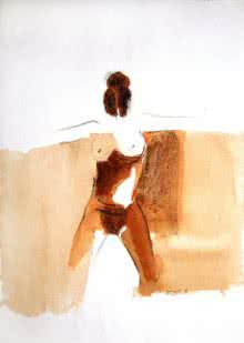 Arun K Mishra | Watercolor Painting title Kamasutra Nude Women on Paper | Artist Arun K Mishra Gallery | ArtZolo.com