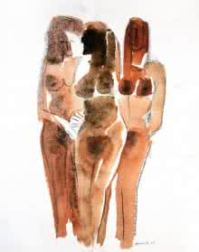 Erotic Watercolor Art Painting title Three Nude Women 13 20 by artist Arun K Mishra