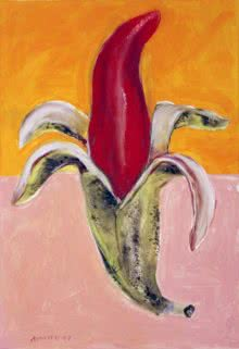 Erotic Acrylic Art Painting title 'Banana' by artist Arun K Mishra