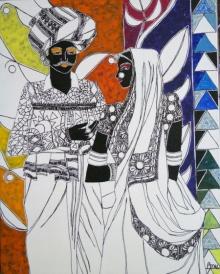 Figurative Acrylic Art Painting title 'Rhythm 28' by artist Anuradha Thakur