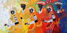 Anuradha Thakur | Acrylic Painting title Ethnic Serendipity 173 on Canvas | Artist Anuradha Thakur Gallery | ArtZolo.com