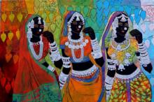 Anuradha Thakur | Acrylic Painting title Ethnic Serendipity 172 on Canvas | Artist Anuradha Thakur Gallery | ArtZolo.com