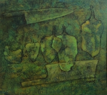 Food Acrylic Art Painting title Green Chillies by artist Mahendra Parmar
