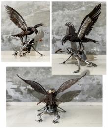 Metal Scrap Sculpture titled 'Monsoon Opportunity' by artist Vinit Barot