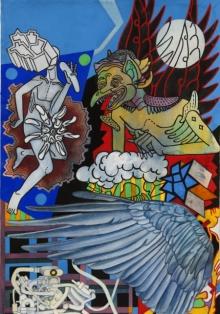 contemporary Mixed-media Art Painting title Moonshine by artist Joydip Sengupta